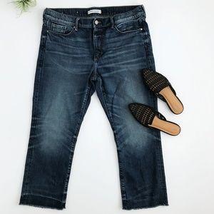 Banana Republic Cropped Flare Jeans Raw Hem Sz 31